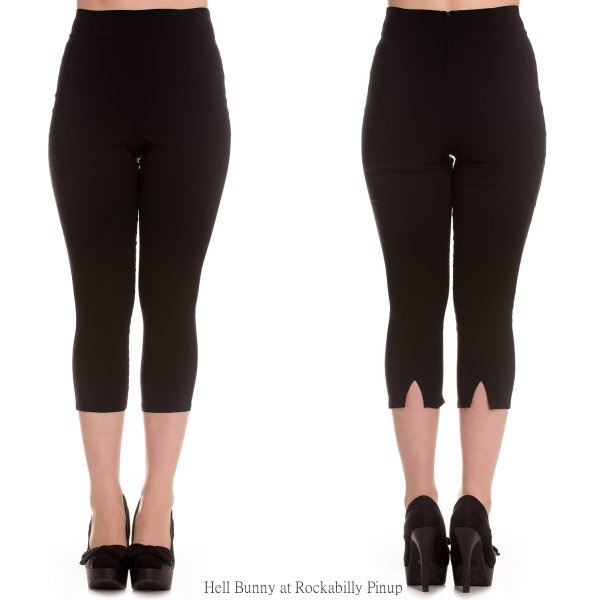 Tina Black Capri Trousers by Hell Bunny | Bottoms | Tina