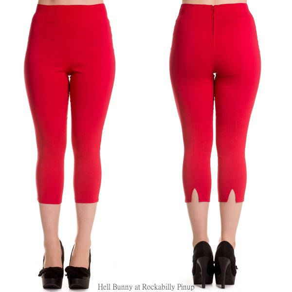 Tina Red Capri Trousers by Hell Bunny | Bottoms | Tina Red
