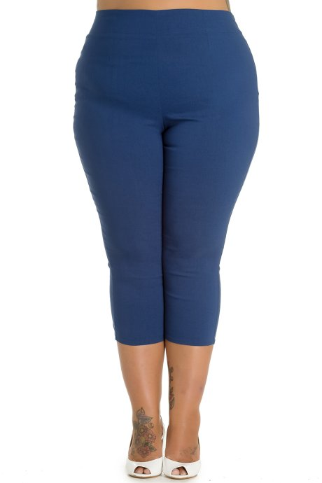 Tina Navy Blue Capri Trousers by Hell Bunny