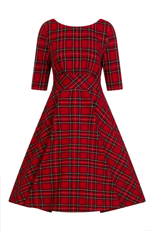 Irvine Red Tartan 50's Dress by Hell Bunny