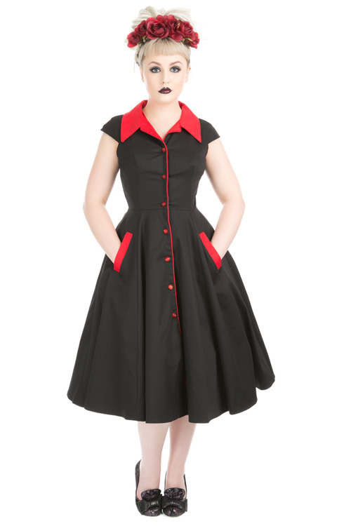 Meadow Black Swing Dress with Red Collar