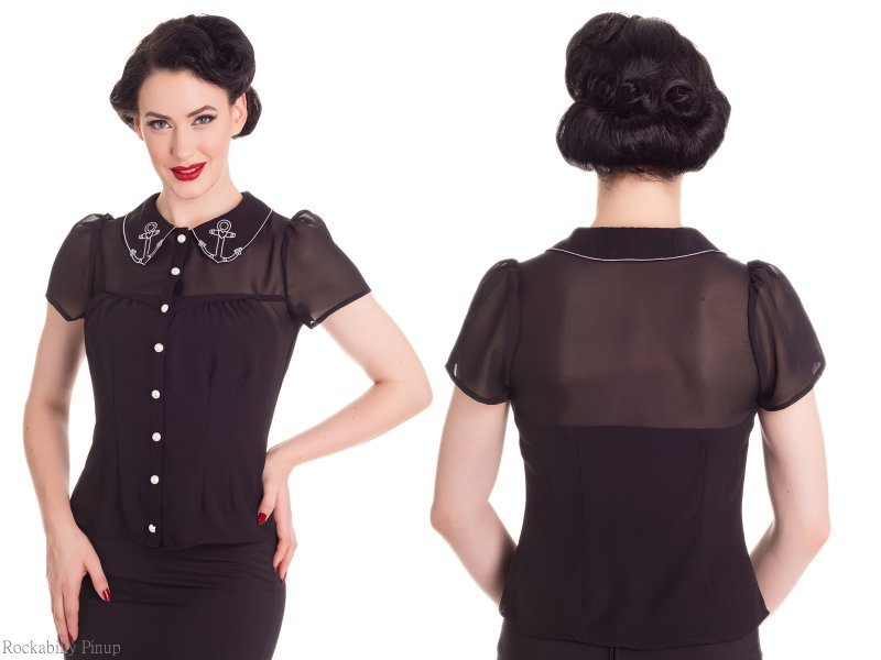 Ahoy Anchor Motif BLACK Chiffon Blouse - XXS ONLY