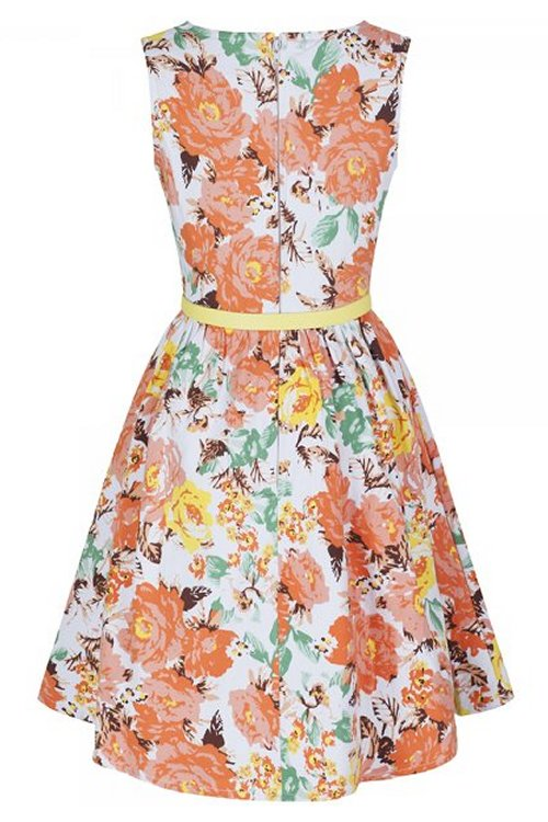 6551aabc1 Mini Audrey Orange Floral Children s Rockabilly Dress