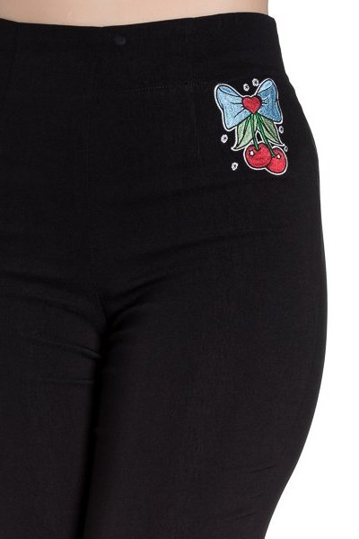Anna Cherry Bow Black Capri Trousers by Hell Bunny with Cherry