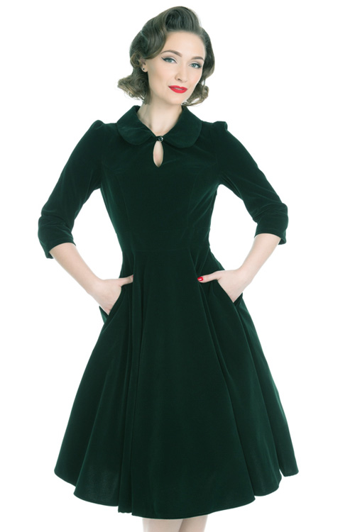 Glamorous Green Velvet 50's Tea Dress - uk24 ONLY
