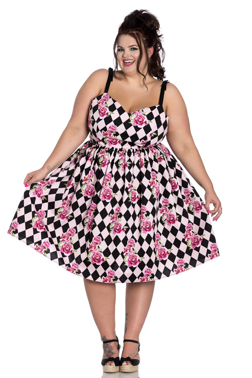Harlequin 50's Dress with Pink Roses by Hell Bunny