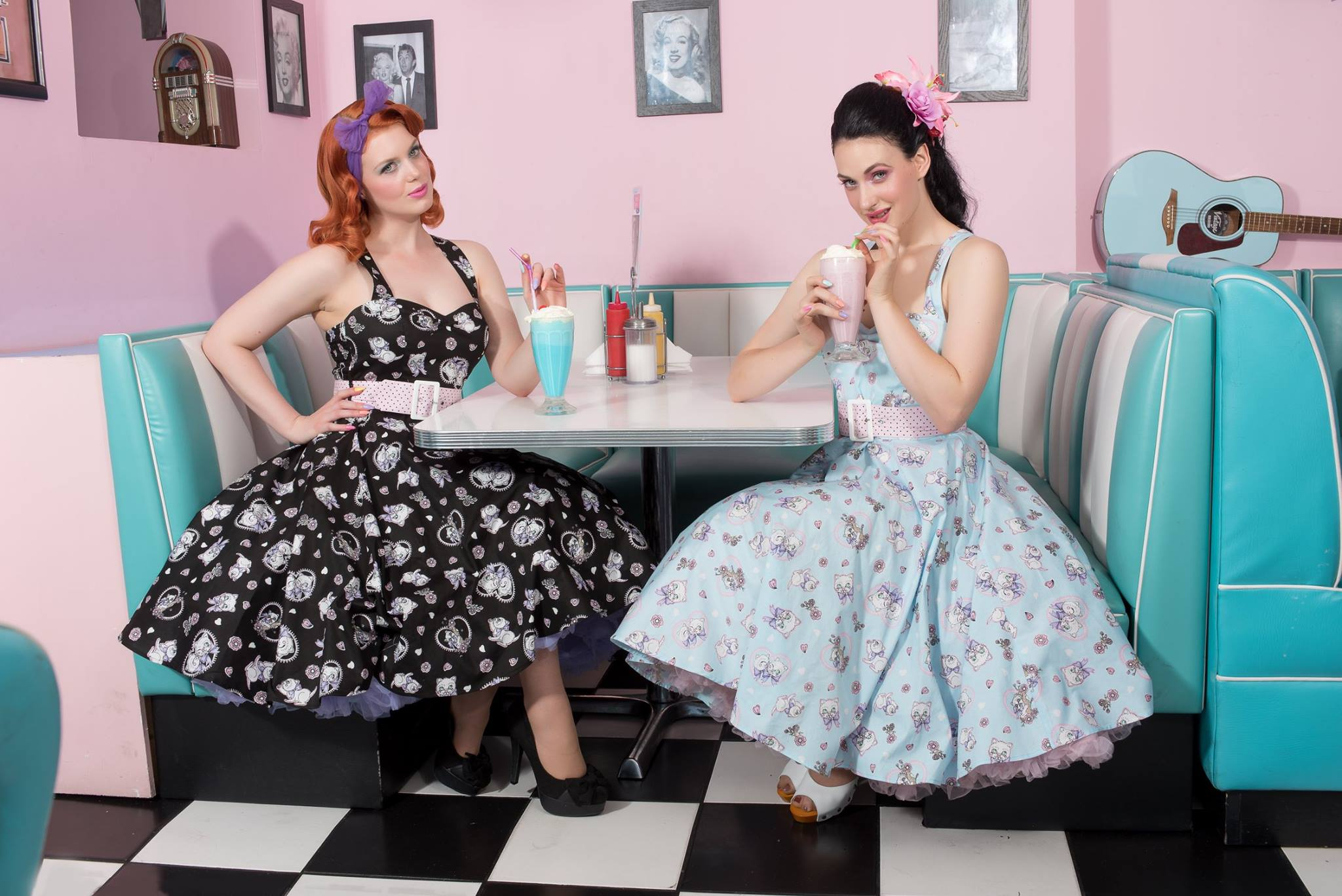 Amelia Cat Print Blue 50's Dress by Hell Bunny