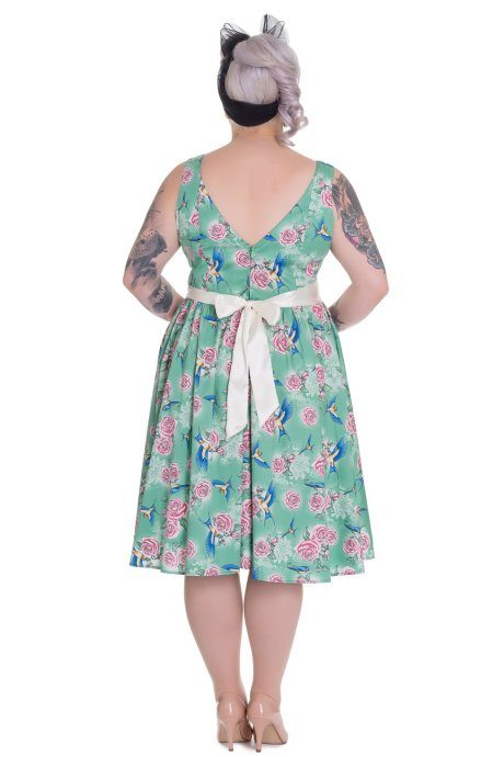 Lacey 50's Swallow Rose Green Dress by Hell Bunny