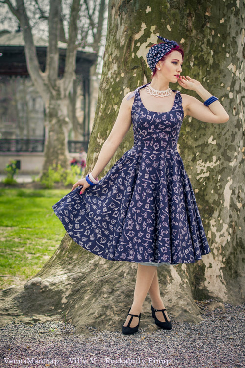 Marin Navy Nautical Print 50's Summer Dress by Hell Bunny
