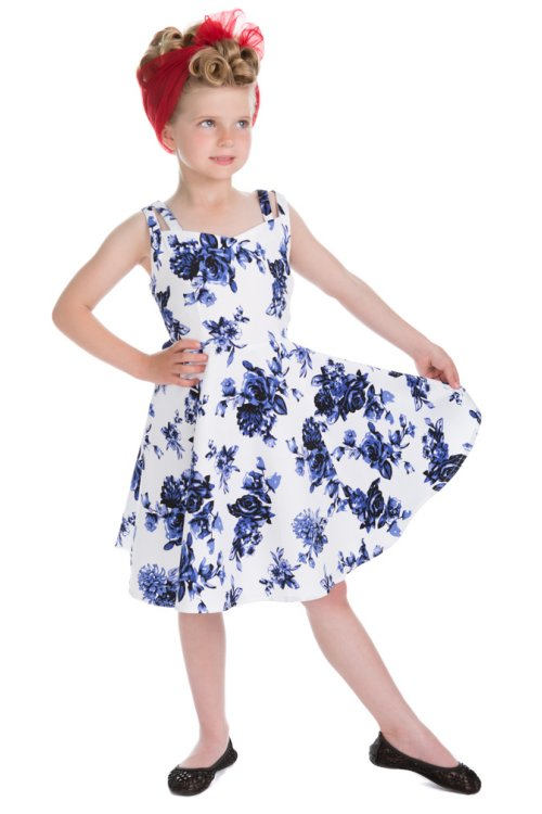 4569f7f53157 Rosacease Blue Floral Children's 50's Rockabilly Dress