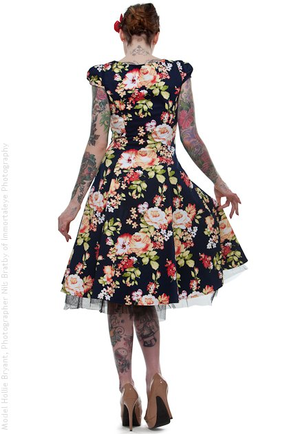 Navy Blue Floral Cotton Vintage Dress UK10 ONLY