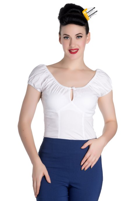Melissa White Gypsy Top by Hell Bunny