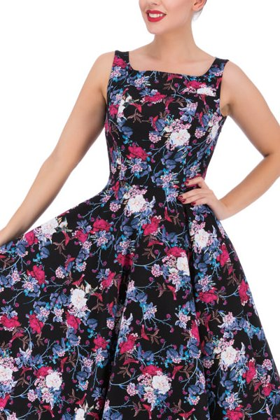 Black Dahlia Floral 50's Rockabilly Dress - XS ONLY