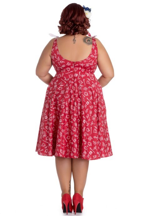 Marin Red Nautical Print 50's Summer Dress by Hell Bunny