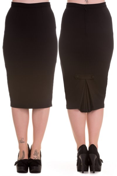 Joni Black Wiggle Pencil Skirt by Hell Bunny