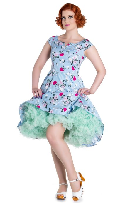 b2fbc13d897a Belinda Blue Floral 50 s Summer Dress - S ONLY