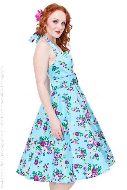 May Day Purple Rose on Blue Rockabilly Dress by Hell Bunny