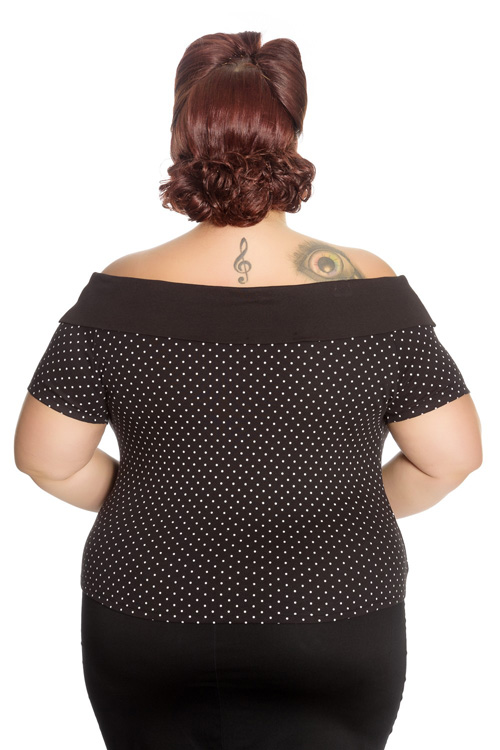 Monica Black Top with White Polkadots by Hell Bunny