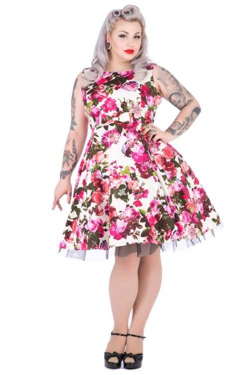 Audrey Cream Roses Floral 50's Rockabilly Dress