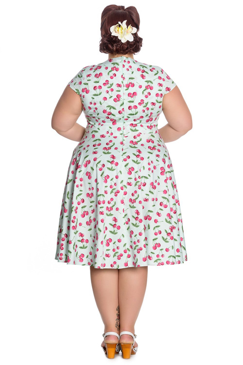 April Cherries on Mint 50's Dress by Hell Bunny