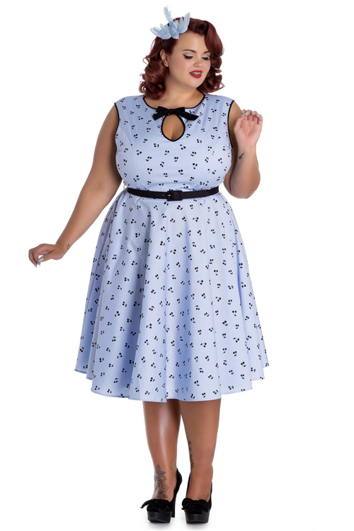 Martina Blue 50's Dress with Cherries by Hell Bunny