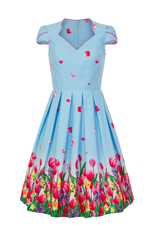 Angelique Blue 50's Dress with Tulips by Hell Bunny