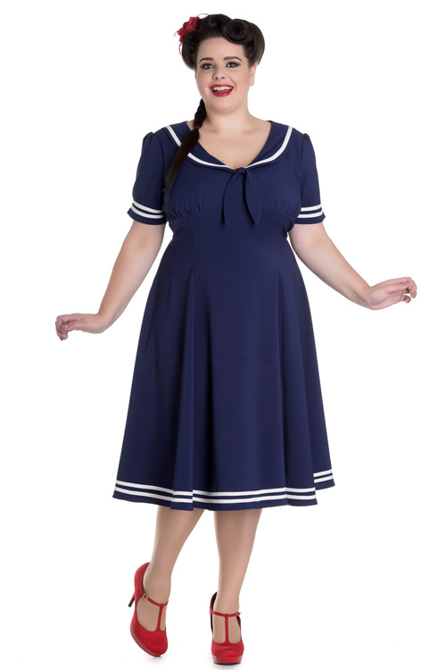 Ambleside Navy Blue Nautical Style Dress by Hell Bunny