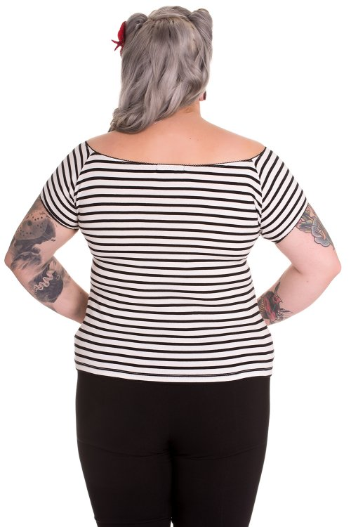 Dolly White Top with Black Stripes by Hell Bunny