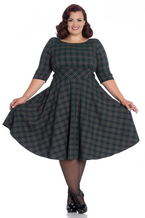 Peebles GREEN Tartan 50's Dress by Hell Bunny - XS ONLY