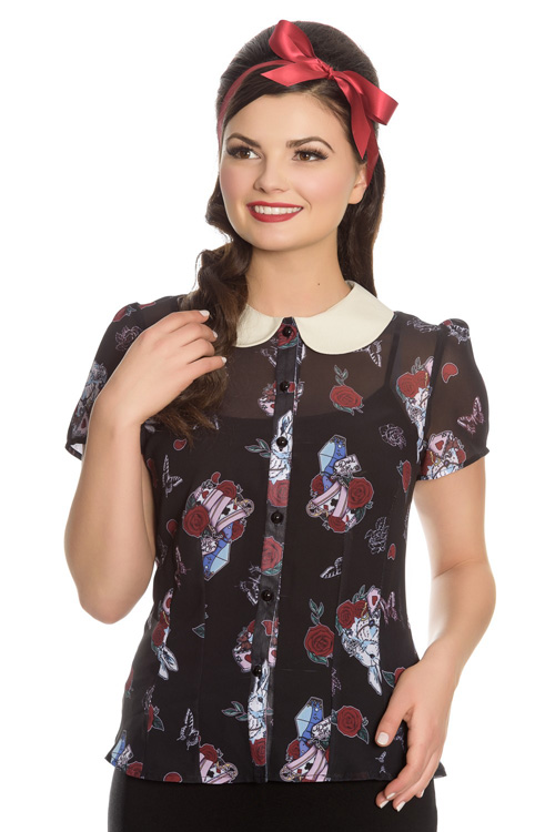 Drink Me Alice in Wonderland Blouse by Hell Bunny
