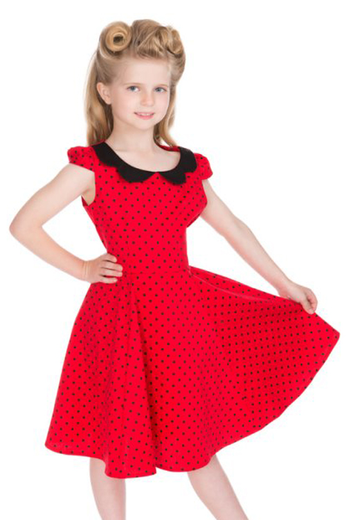 Red Children's Swing Dress with Black Polkadots