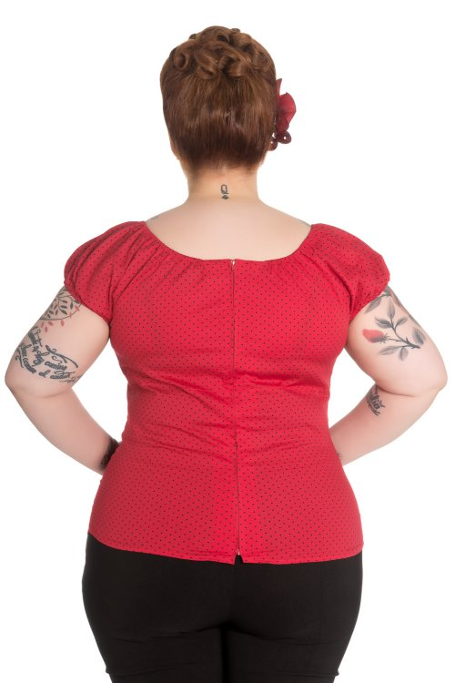 Miranda Red Gypsy Top with Black Polkadots by Hell Bunny
