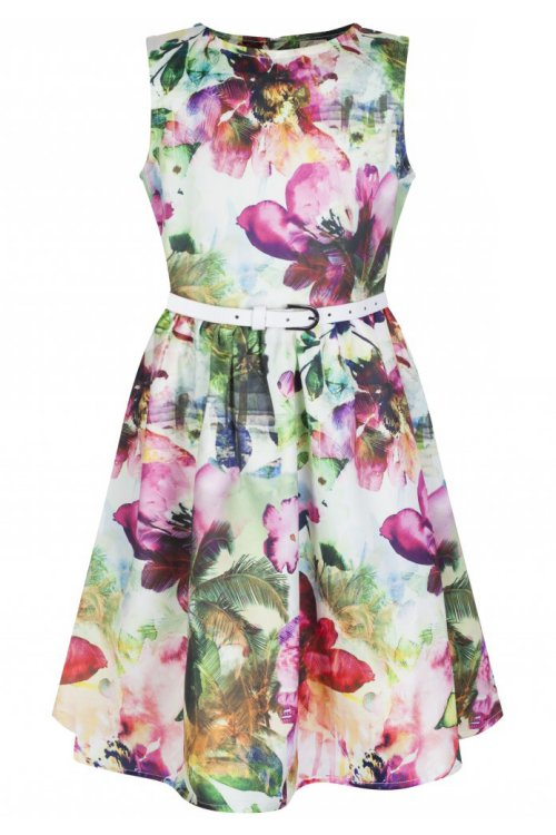 Mini Audrey Pink Floral Girl's Rockabilly Dress by Lindy Bop