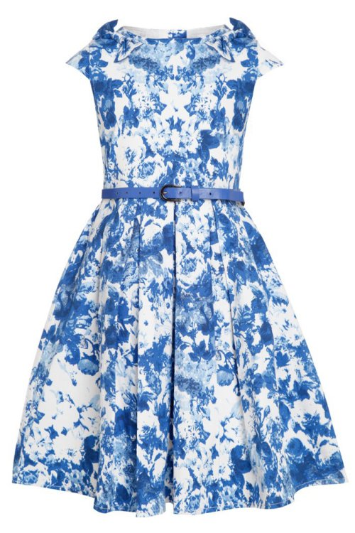 Mini Belina China Blue Floral Party Dress by Lindy Bop