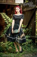 Chloe Black Top with White Polkadot Collar by Hell Bunny