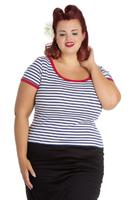 Cali Navy Nautical Stripe Top by Hell Bunny