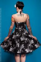 Black 1950's Rockabilly Dress with White Floral Print