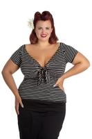 Hannah Black Top with Ivory Stripes by Hell Bunny