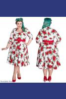 Eternity Red Rose 50's WHITE Rockabilly Dress by Hell Bunny