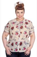 Leah Rose Print Cream Blouse by Hell Bunny