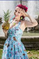 Suki 50's Blue Tiki Hibiscus Print Dress by Hell Bunny