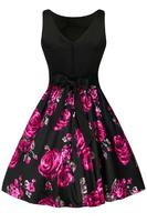 Violet & Grey Rose Floral Two-Tone Tea Dress by Lady Vintage