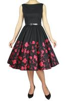 Dorothy Black Rockabilly Dress with Red Flowers