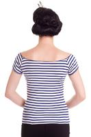 Dolly White Top with Navy Blue Stripes by Hell Bunny