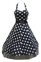 Big White Polkadots on Black 1950s Rockabilly Dress - ONLY PLUS
