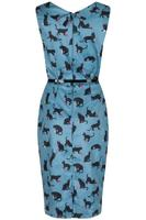 Vanessa Cats on Green Wiggle Dress by Lindy Bop