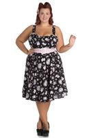 Amelia Cat Print Black 50's Dress by Hell Bunny - M ONLY