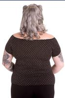 Cilla Black Top with White Polkadots by Hell Bunny
