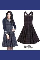 Peebles Navy Blue Tartan Pinafore Dress by Hell Bunny