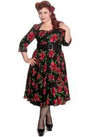 Eternity Red Rose 50's Rockabilly BLACK Dress by Hell Bunny